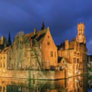 Bruges At Night, Belgium Art Print