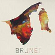 Brunei Watercolor Map Art Print