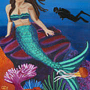 Brunette Mermaid With Turquoise Tail Art Print
