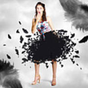 Brunette Pin-up Woman In Gorgeous Feather Skirt Art Print