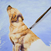 Brushing The Dog Art Print