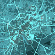 Brussels Traffic Abstract Blue Map And Cyan Art Print