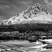 Buachaille Winter Panorama Mono Art Print