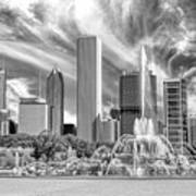 Buckingham Fountain Skyscrapers Black And White Art Print