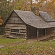 Bud Ogle Cabin Fall  Art Print