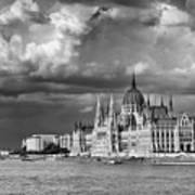 Budapest Parliament From The Chain Bridge Art Print