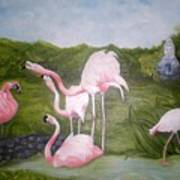 Buddah And The Flamingos Art Print