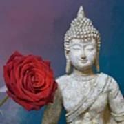 Buddha And Rose Art Print