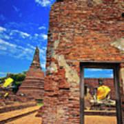 Buddha Doorway At Wat Worachetha Ram In Ayutthaya, Thailand Art Print