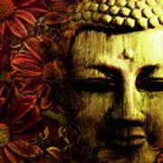 Buddha In Red Chrysanthemums Art Print