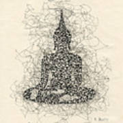 Buddha Pen And Ink Drawing Art Print