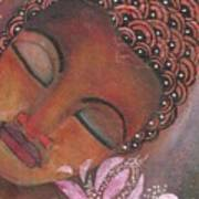 Buddha With Pink Lotus Art Print