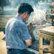 Buddhist Way Of Praying Art Print