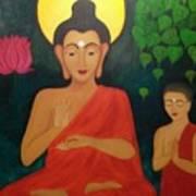 Budha Blessing Art Print