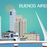 Buenos Aires Argentina Horizontal Skyline - Blue Art Print