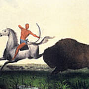Buffalo Hunt, 1832 Art Print