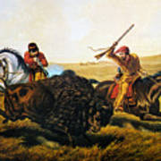 Buffalo Hunt, 1862 Art Print