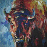 Buffalo In Blue Art Print