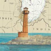 Buffington Harbor Lighthouse In Nautical Chart Map Art Print