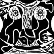 Bull Charging Rorschach Art Print