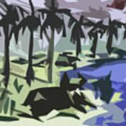 Bull-gaze Art Print