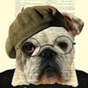 Bulldog Portrait, Animals In Clothes Art Print