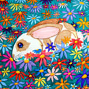 Bunny And Flowers Art Print