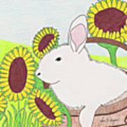 Bunny In A Basket Art Print