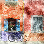 Burano Italy Digital Watercolor On Photograph Art Print