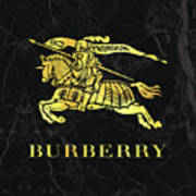 Burberry - Black And Gold - Lifestyle And Fashion Art Print