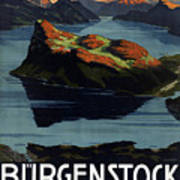 Burgenstock - Lake Lucerne - Switzerland - Retro Poster - Vintage Travel Advertising Poster Art Print