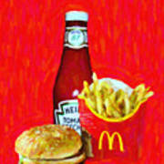 Burger Fries And Ketchup Art Print by Wingsdomain Art and Photography