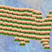 Burger Town Usa Map Art Print