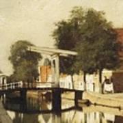 Burgwal Met De Hagebrug Te Haarlem Art Print