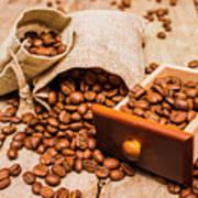 Burlap Bag Of Coffee Beans And Drawer Art Print