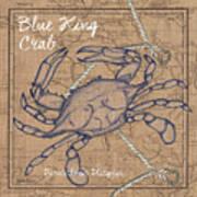 Burlap Blue Crab Art Print