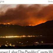 Burning Foothills Above Boulder Fourmile Wildfire Panorama Poster Art Print