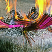 Burning Joss Sticks Art Print