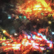 City Of Burning Lights Art Print