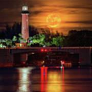 Burning Moon Rising Over Jupiter Lighthouse Art Print