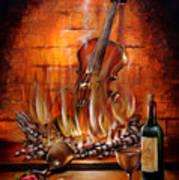 Burning Violin Art Print