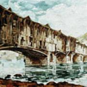 Burnt Covered Bridge Art Print