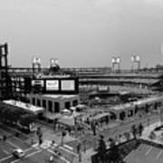 Busch Stadium From The East Garage Black And White Art Print