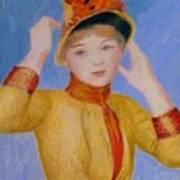 Bust Of A Woman Yellow Dress Art Print
