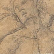 Bust Of A Youth Looking Upward [recto] Art Print