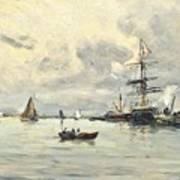 Bustling Activity In A Normandy Port Art Print
