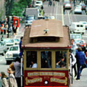 Busy Day On The California Street Cable Car Incline Art Print