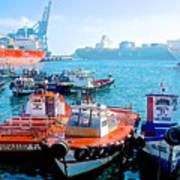 Busy Port Of Valparaiso-chile Art Print