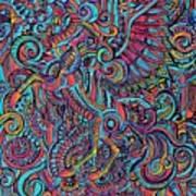 Busy Unicorn Pattern Art Print