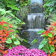 Butchart Gardens Waterfall Art Print